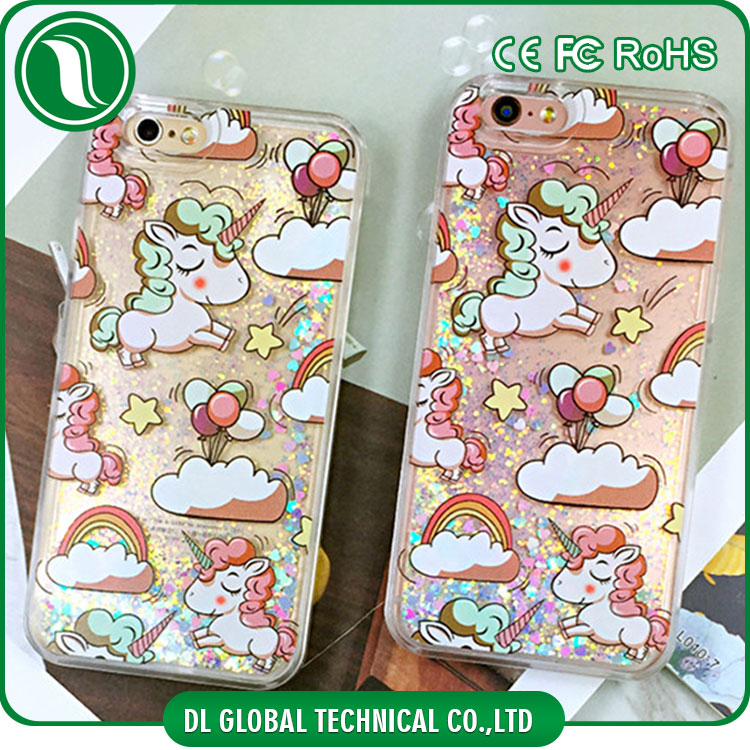 Cute mobile phone cover for iphone 6s phone unlocked liquid glitter unicorn 3d printing phone back cover case for iphone 6 cover