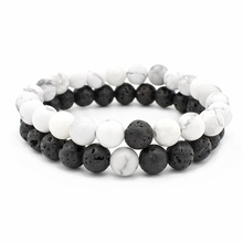 DIY Couple Custom Fashion 2Pcs/Set Distance Bracelet Classic Natural Stone White and Black Yin Yang Beaded Bracelets