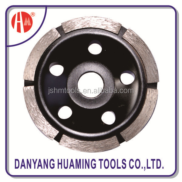 Small deep teeth turbo cup grinding wheel with guide segment for long life cutting hard and dense material