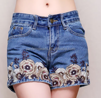 2016 summer newest chinese retro national wind embroidered clutivate ladies denim shorts