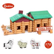 children toys new 2016 style 170pcs Farm And Shop Log Set Prefabricated Wooden Building Blocks House