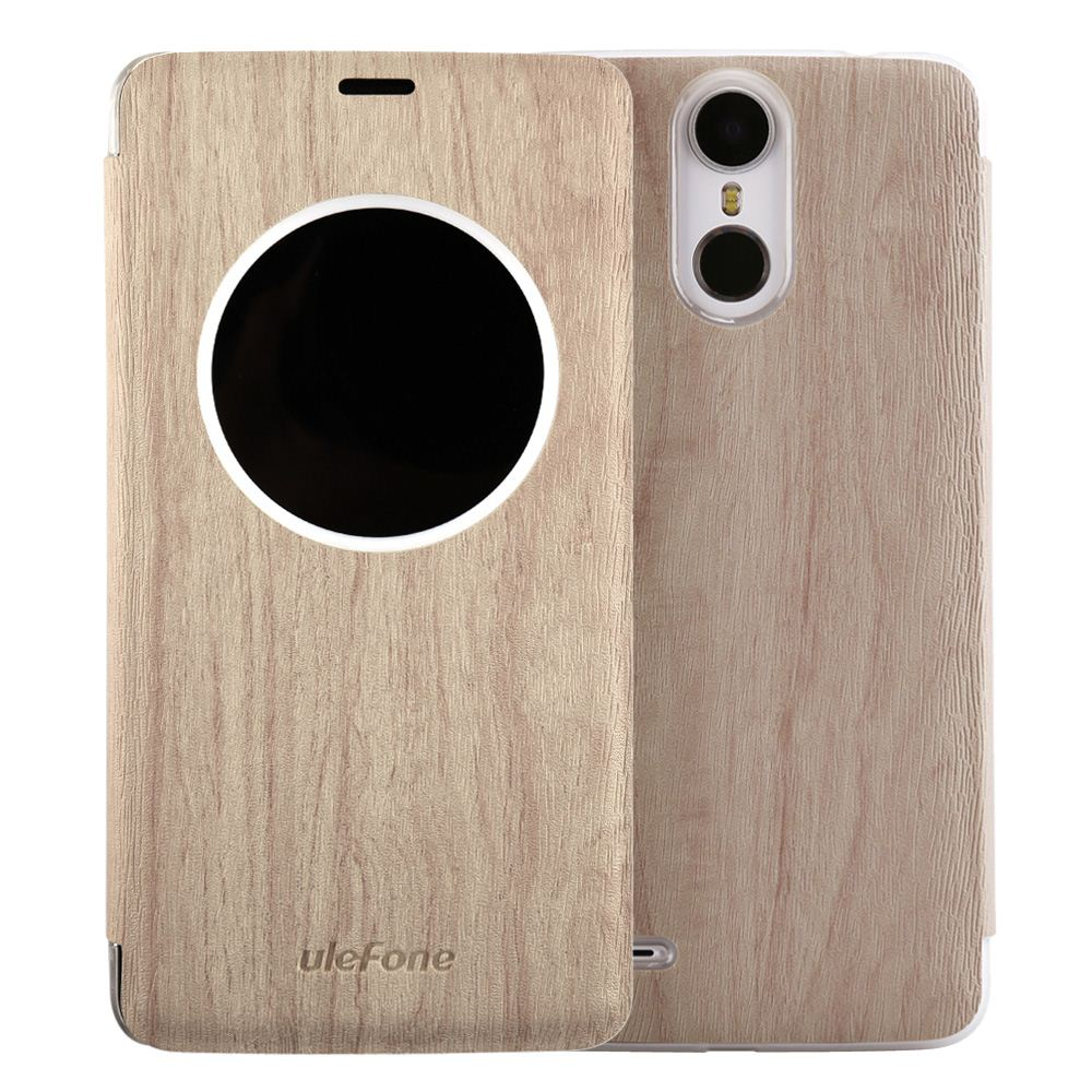 Ulefone Protective Phone Cover Protector Leather Case Flip Shell Case with Window Wooden Texture for Ulefone Vienna Smartphone