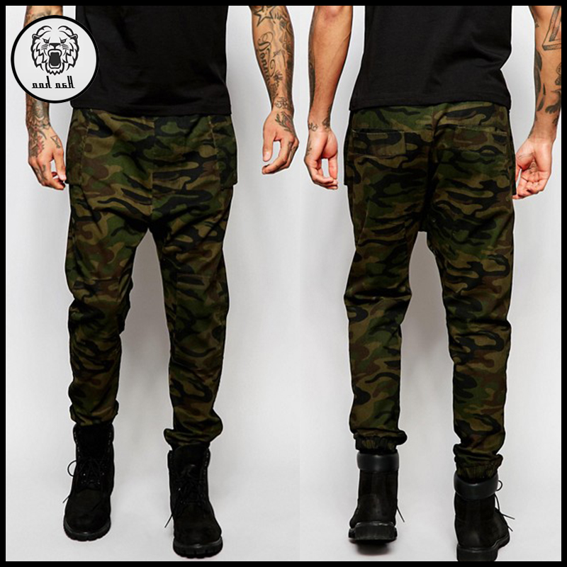 High quality camo twill skinny joggers men slim fitted chino cargo pants