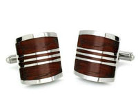 Hot Sale Stainless Steel Red Wood Cuff Links Manufacturer