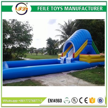 2017 cheap and commercial inflatable water slide with pool