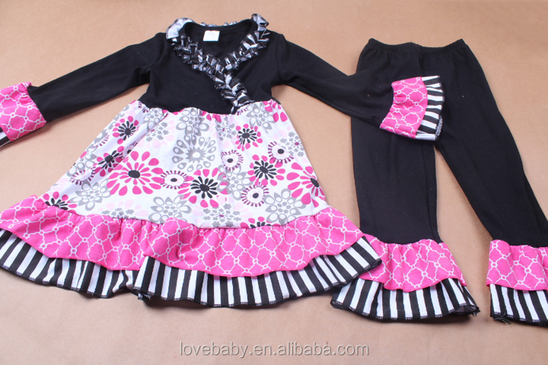 ruffle pants outfits black sunflower prints top dress and ruffled pants children clothing sets LBYTZ001-77