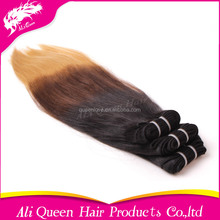 ALI Queen Retail 10A Best Quality Virgin Remy Ombre Straight Indian Hair Weft For Vendors
