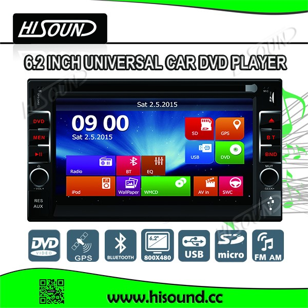 High quality 2din 6.2inch touch screen car dvd gps auto with USB/SD/GPS/BT/1080P