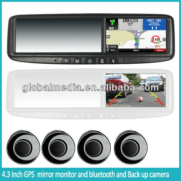 4.3 inch car special rearview mirror monitor auto dimming ,GPS ,Bluetooth,rear camera for with No.3 bracket