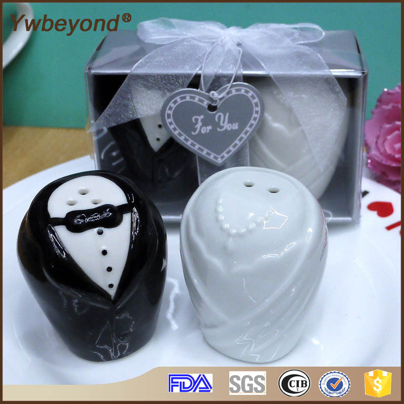 Ywbeyond Ceramic Bride and Groom Salt Pepper Shaker Bridal Shower Favors and Indian Wedding gifts for guests