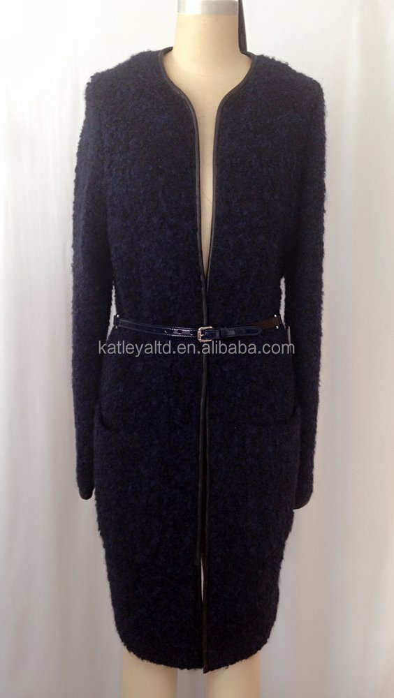 ladies high quality long sleeve wool coat with contrast leather trim