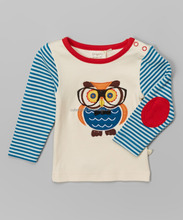 New Design For Baby Boys T-Shirt Blue & White Stripe Owl Organic Tee Organic Cotton Shirt- Infant Toddler Clothes Z-BT80812-35