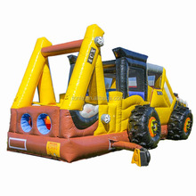 giant backhoe combo inflatable moon bounce/ bounce castle/ inflatable trampoline with slide combo
