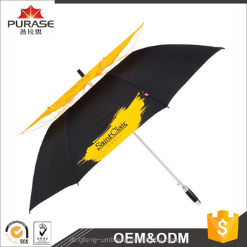 Dingfeng factory custom automatic open promotional double canopy golf umbrella