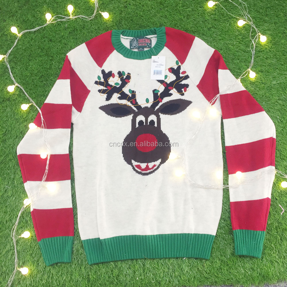 16JW53115 customized LED light deer design ugly christmas sweater