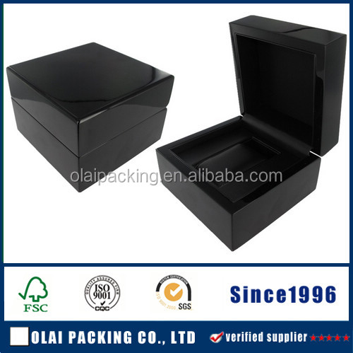 black shiny wood watch box with leather interior