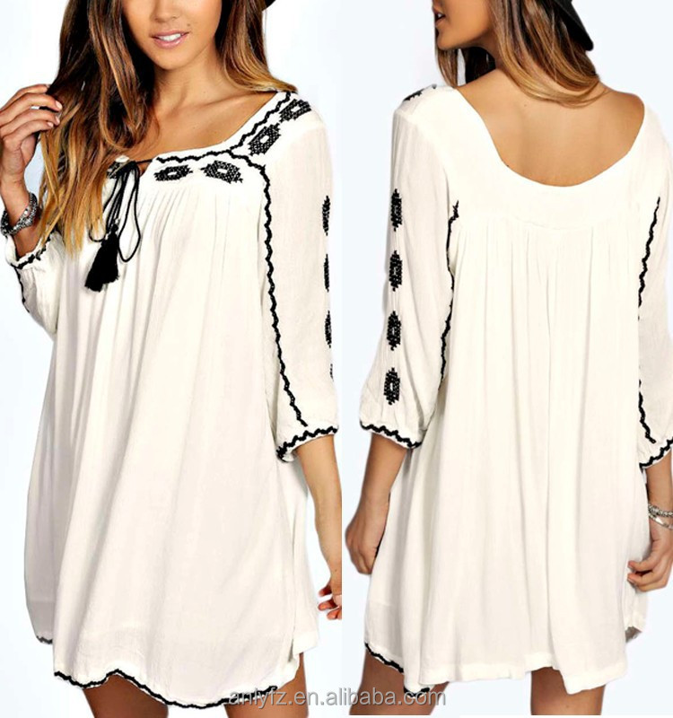 2016 Style Fashion female casual fashion loose white embroidered fringed women dress