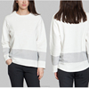 2016 newest plain sweatshirt custom designs navy blue and white striped panelling large round collar sweater shirt women