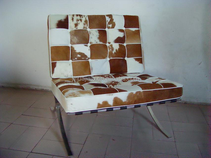 leather barcelona chair/barcelona chair in cowhide/cheap plastic dining chair