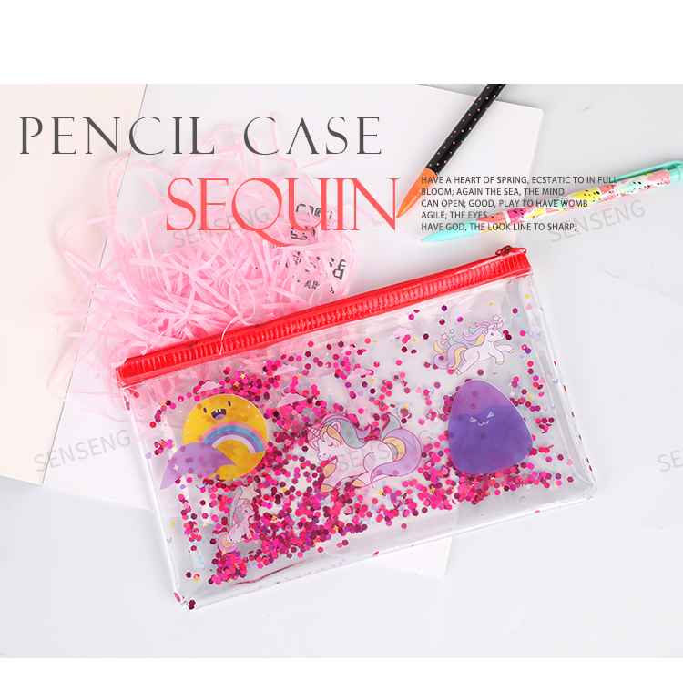 Portable Sequin PVC oil cloth material back to school stationery gift pencil pouch