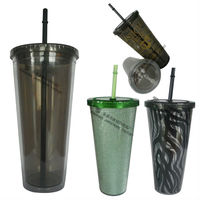 Big Size Beautiful Disposable Plastic Ice Cup With Lid And Straw