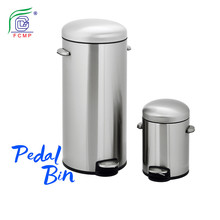 30L+5L easy to carry design stainless steel retro trash bins combo