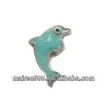 in stock, Glass floating memory locket Dolphin charms assort floating charms (FC-152)