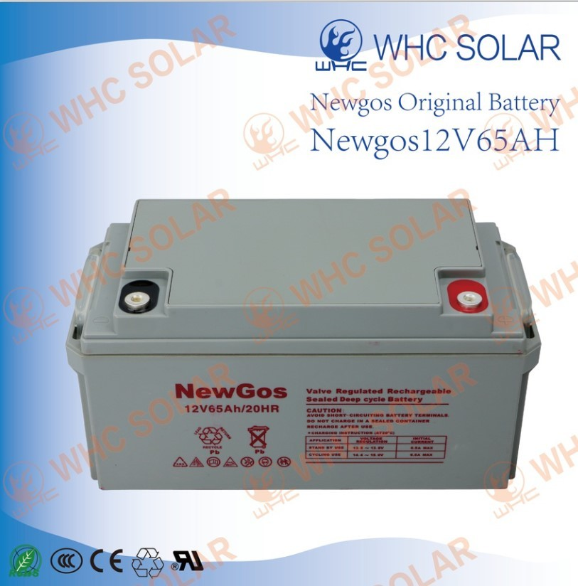 WHC SOLAR 12V65AH lead acid deep cycle solar battery 3 years guarantee