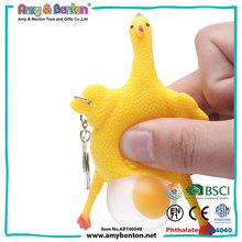 Hot novelty items squeeze toy animal chicken lay egg keychain toy