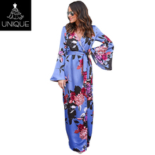 2018 Wholesale Blue long sleeves floral printed ladies summer dresses
