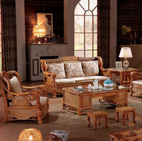 European Style nature indonesian rattan living room furniture sofa set