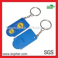 plastic trolley coin keyring with key chain