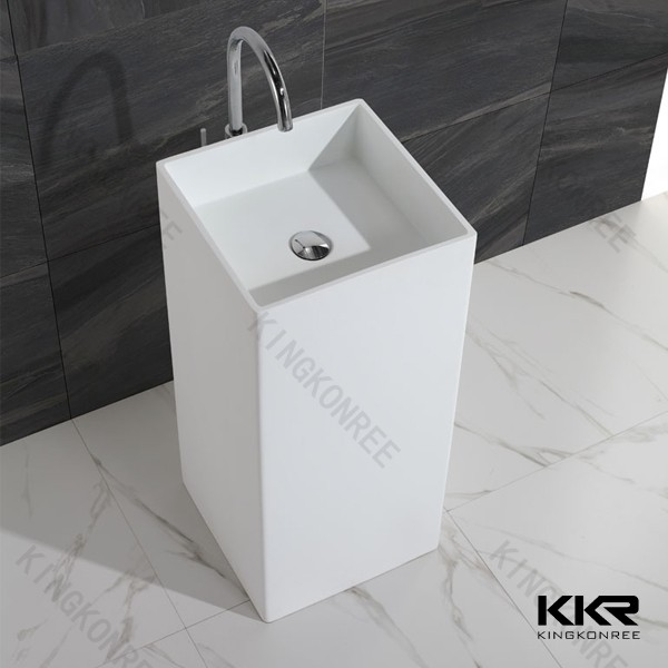 Stylish acrylic solid surface freestanding bathroom face basin