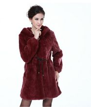 Long winter fur coats for women Female 2015 full leather rex rabbit hair overcoat belt with a hood long design fur coat