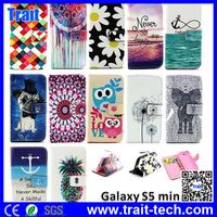 Flower Case Wallet Style Magnetic Flip Stand TPU+ PU Leather for Samsung Galaxy S5 Mini Phone Cover