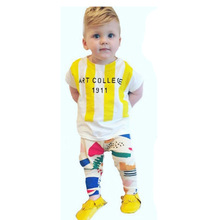 wholesale boutique Burst T shirt love graffiti stripes Harlan pants children set boys and girls summer 2017 new generation on be