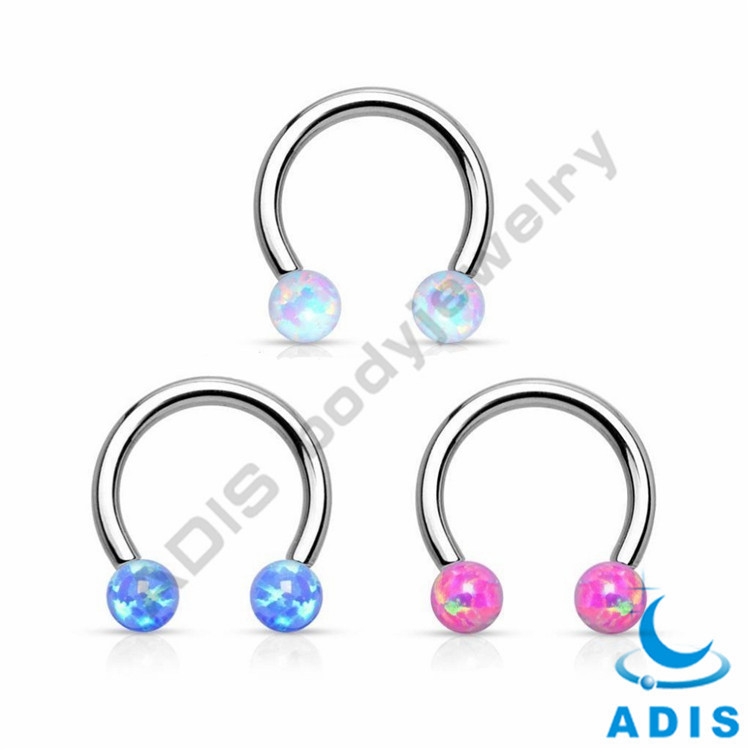 Fashion Opal CBR Nose Piercing Studs Horseshoe Ring