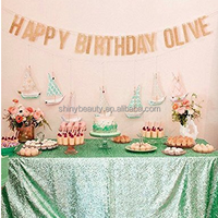 Mint Green Sequin Tablecloths, Fancy Sequin Mesh Embroidery Tablecloths , Customed Made Sequin Table Linen