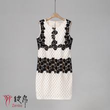 A-line geometric lace sleeveless dress with mecrame tapes