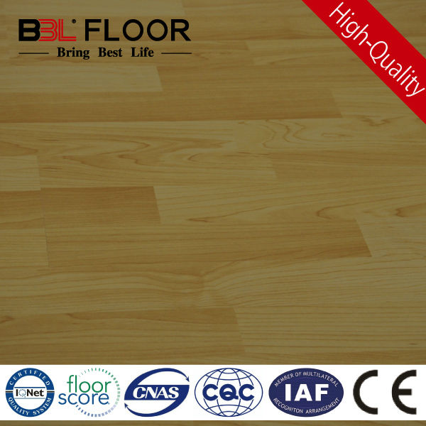 10mm AC3 middle embossed light yellow color synthetic wood flooring 6116