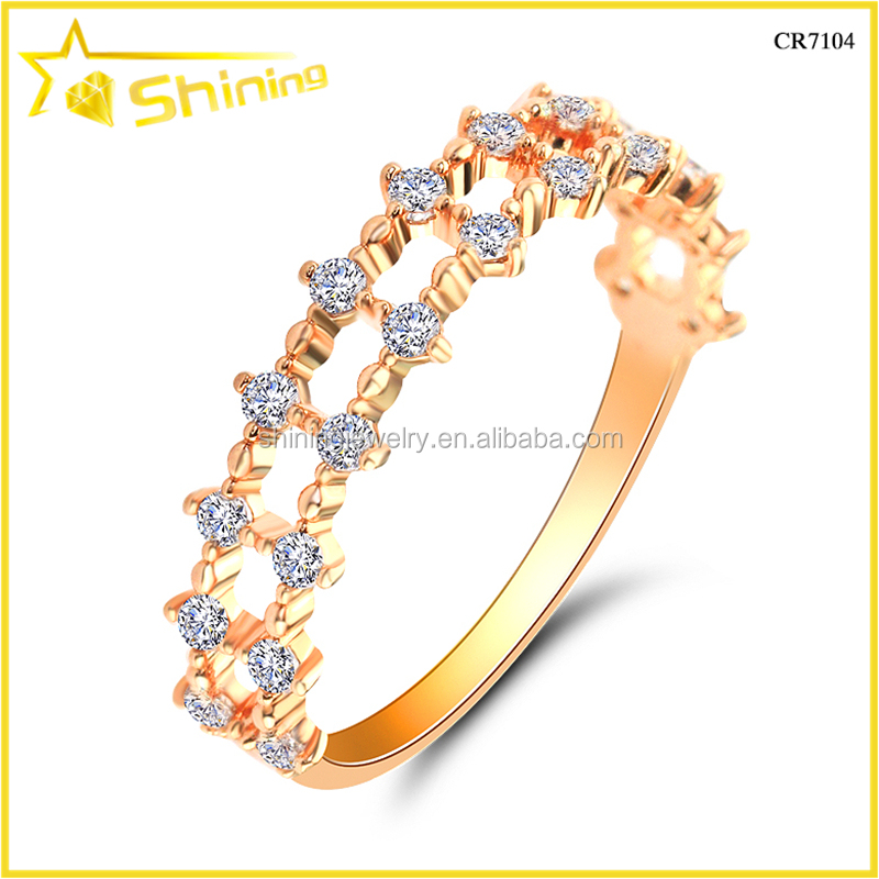 Hot Selling Shining CZ Crystal Rose Gold Silver Fashion Ring