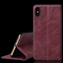 Flip stand wallet card holder genuine leather phone cover case for iPhone X