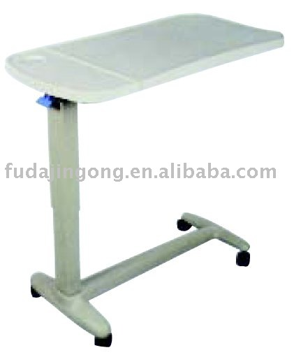 D-4 on wheels height adjustable C side over bed table, patient dining table