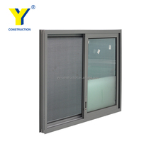 YY Construction Supply Cheap Price Aluminum Sliding Window Grill Design with Double Glazed Glass