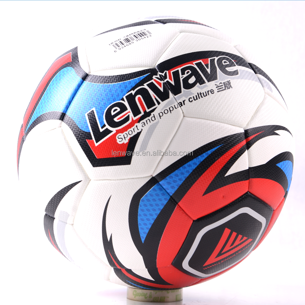 Lenwave brand promotional custom leather professional match soccer ball