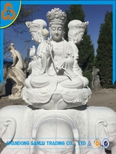 garden natural stone white marble elephant buddha carving statue