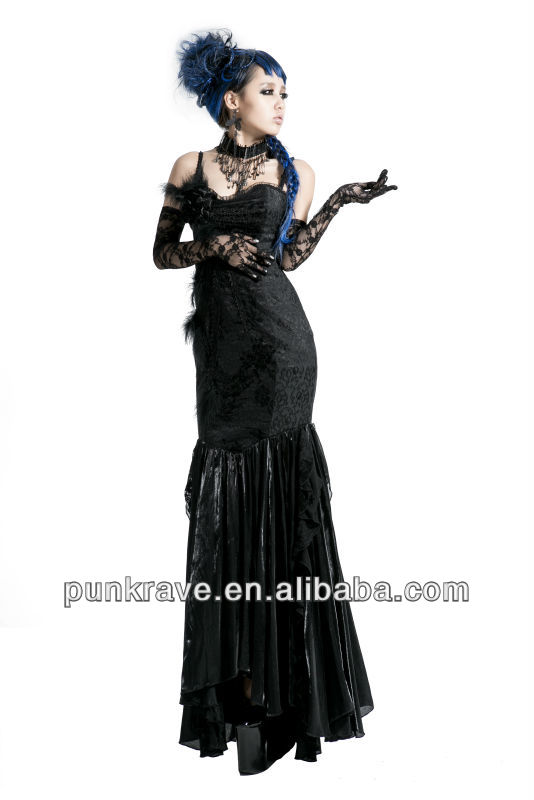china supplier Black Gothic braces skirt/muslimah dress made in chinaQ-190