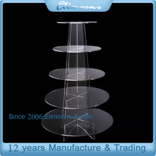 Custom Round High Clear 5 Tier Birthday Cake Acrylic Display Case/Plastic Dessert Display Stand