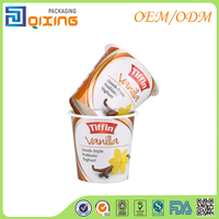 New design yogurt plastics packaging with laser metallic effect