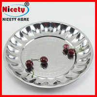 35cm non-slip stainless steel round metal mini bar serving tray
